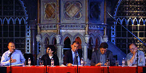 Nick Cohen - Nick Cohen (centre) at the public launch of the Euston Manifesto at the Union Chapel, Islington, in 2006