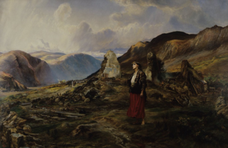Land War - Evicted by Elizabeth Thompson, c. 1890. An evicted Irishwoman in the Wicklow Mountains is depicted in the ruins of her home, destroyed by landlords.