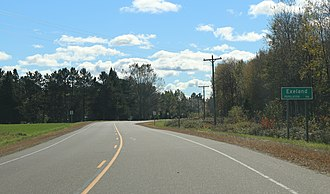 Exeland, Wisconsin - Image: Exeland Wisconsin Sign WIS48