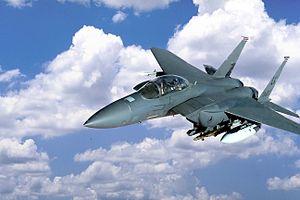 Sniper Advanced Targeting Pod - An F-15E Strike Eagle carrying a Sniper pod (under engine intake).