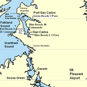 British ground forces in the Falklands War - D-day at San Carlos