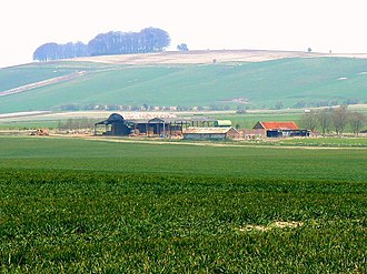 Winterbourne Bassett - Image: Farmland and buildings, near Hackpen White Horse, Wiltshire geograph.org.uk 382692