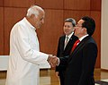 Farooq Abdullah with the Mongolian President, Mr. Tsakhia Elbegdorj, in Ulaanbaatar. Dr. Abdullah is in Mongolia to attend the oath taking ceremony of Elbegdorj.jpg
