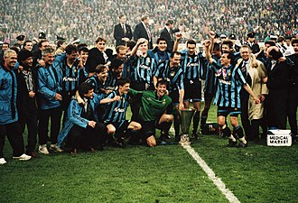 Inter Milan - Inter celebrating their 1993–94 UEFA Cup win against Austria Salzburg