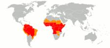 Mapa endemických oblastí žluté zimnice (červená) a oblastí s potenciálním rizikem žluté zimnice (oranžová), r. 2010