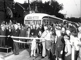 PCC streetcar - Mayor Ralph Day commissions Toronto′s first PCC streetcars on September 22, 1938.