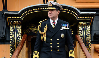 HMNB Portsmouth - The then First Sea Lord disembarking from his flagship HMS Victory in 2014.
