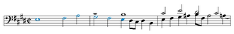 Ariadne musica - The beginning of Bach's E major fugue from the second volume of the Well-Tempered Clavier.