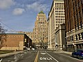 Fisher Building as seen from 2nd Avenue in front of the Argonaut Building, New Center, Detroit - 20201215.jpg