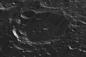 Fizeau (crater) - Oblique Lunar Orbiter 5 image