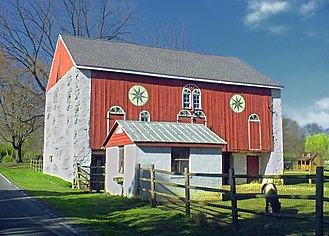 Pennsylvania Dutch Country - Barn with Hex signs in Pennsylvania Dutch Country in Berks County