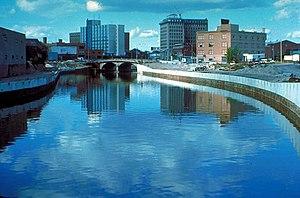 The Flint River in Flint, Michigan, USA, in th...