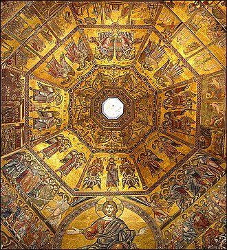 Florence Baptistery - Mosaic-covered interior of the octagonal dome
