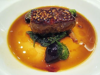 Foie gras - Foie gras with mustard seeds and green onions in duck jus