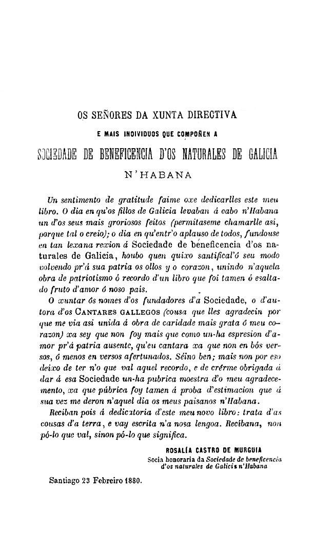 Follas novas. Rosalía Castro de Murguía. 23 Febreiro 1880. Dedicatoria