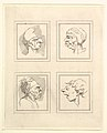 Four Heads (from Characaturas by Leonardo da Vinci, from Drawings by Wenceslaus Hollar, out of the Portland Museum) MET DP824114.jpg