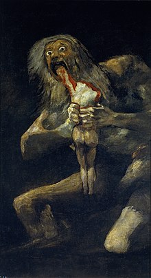 Painting of a ghoulish, naked man holding a bloody, naked body and devouring the arm .