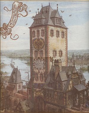 Bridge tower - Bridge tower on the Old Bridge in Frankfurt am Main around 1600