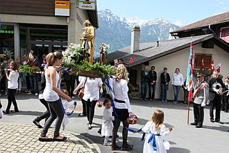 Religion in Switzerland - Corpus Christi procession in Erschmatt