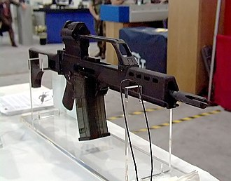 Heckler & Koch G36 - G36K Carbine with two G36 magazines clipped together jungle style.