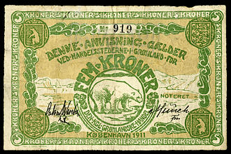 Greenlandic krone - Greenland's 5 Kroner (1911), issued by the Den Kongelige Grønlandske Handel, depicting a polar bear