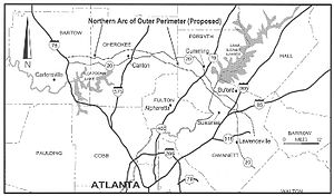 Outer Perimeter - A map showing a resemblance of the originally propose Northern arc and S.R. 20  Credit: Truman Hartshorn study, GSU