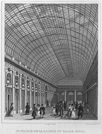 Architecture of Paris - The Galerie d'Orleans at the Palais-Royal (1818–29), a shopping arcade covered with a glass roof, by Pierre-François-Léonard Fontaine