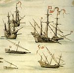 Galleon, Carracks, Galley and Galeota- Routemap of the Red Sea-1540 by D. João de Castro.jpg