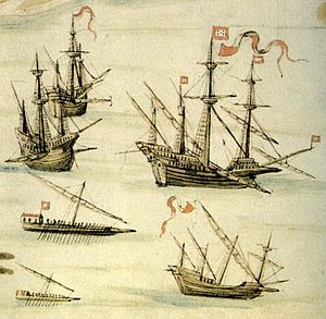 Portuguese Navy - Depiction of the Expedition to Suez led by João de Castro in 1541, showing the main types of Portuguese ships that operated in the Indian Ocean in the 16th century, including two carracks, a galleon, two galleys and a round square caravel.