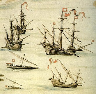 Galleon - Image: Galleon, Carracks, Galley and Galeota Routemap of the Red Sea 1540 by D. João de Castro