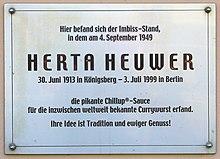 Targa a ricordo di Herta Heuwer