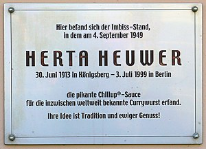 Currywurst - Plaque in Charlottenburg, Berlin, where Herta Heuwer is said to have invented the currywurst