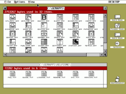 OpenGEM showing hard disk and CD-ROM icons (to the right).