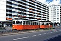Geneva tram 726 and ex-Lucerne trailer 321 in Thônex in 1978.jpg