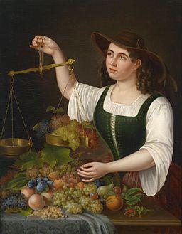 George Forster Eine junge Marktfrau beim Abwägen von Früchten 1861