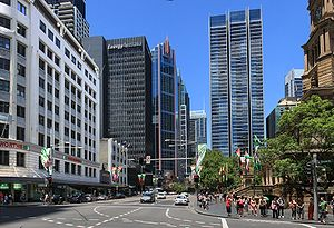 George Street, Sydney - George Street, looking south at junction with Druitt Street, Sydney Town Hall is visible at right