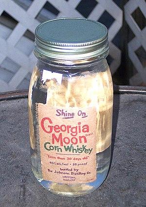 Corn whiskey - A Mason jar of Georgia Moon corn whiskey