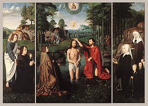 The Baptism of Christ (David) - Image: Gerard David Triptych of Jan Des Trompes WGA6031