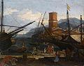 Gezicht op een zuidelijke haven, door Adriaen van der Kabel.jpg