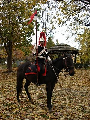 The Governor General's Horse Guards - A mounted trooper of the Cavalry Squadron in ceremonial dress.