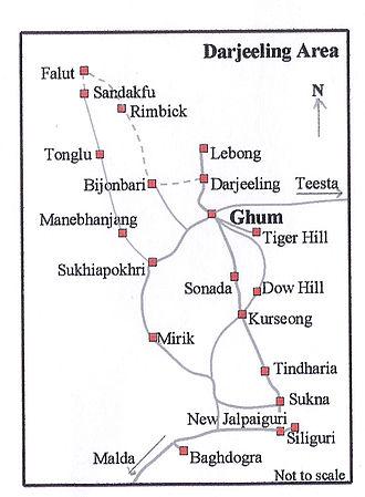 Sandakphu - Route map of Sandakfu trek (not to scale)