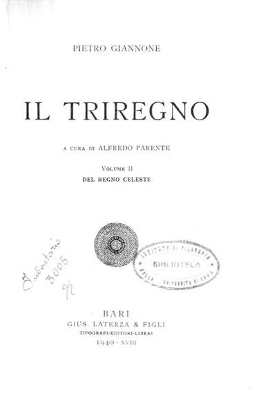 File:Giannone, Pietro – Del regno celeste, 1940 – BEIC 1830525.djvu
