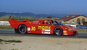 Momo (company) - Momo founder Gianpiero Moretti at the wheel of an Alba AR3 at Laguna Seca in 1984.