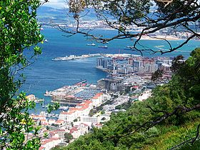 Gibraltar city and bay from the Rock of Gibraltar.jpg