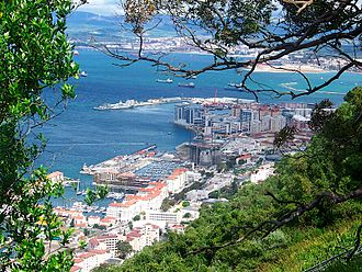 Royal Gibraltar Yacht Club - Image: Gibraltar city and bay from the Rock of Gibraltar