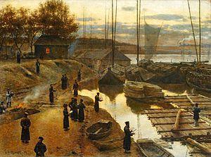 """ציור של יהודים עורכים """"תשליך"""" בראש השנה, מעשה ידי הצייר אלכסנדר גרימסקי."""