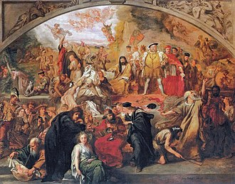 Shakespeare in performance - Sir John Gilbert's 1849 painting: The Plays of William Shakespeare, containing scenes and characters from several of William Shakespeare's plays.