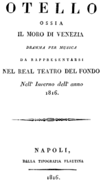 Gioachino Rossini - Otello - titlepage of the libretto - Naples 1816.png