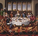Girolamo da Santacroce - Interieur met gezelschap aan tafel en musicerende saters - NK1671 - Cultural Heritage Agency of the Netherlands Art Collection.jpg