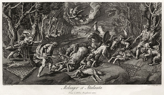 Meleager and Atalanta hunt the Calydonian Boar